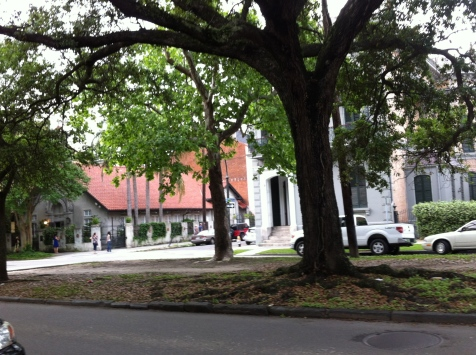 Church of the Redeemer (with the red roof) on the site of one of the main slave markets of New Orleans.