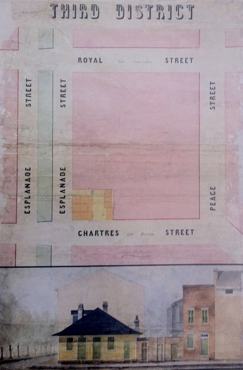 The property depicted here is on the north corner of Esplanade Avenue and Chartres (previously Moreau). It was one of the most active slave trading sites in New Orleans. The complex included offices for the traders and many slave pens.