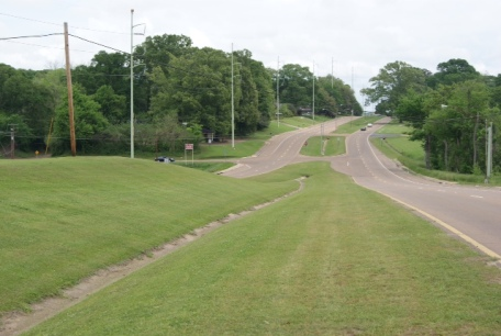 The Forks of the Road - a grassy mound, all that remains of the Natchez slave market.